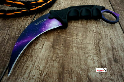 NEW CSGO Purple TACTICAL NECK KNIFE KARAMBIT Hawkbill BOWIE Galaxy Fixed Blade