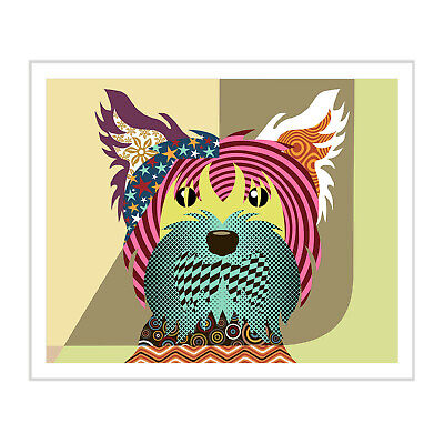 Yorkshire Terrier Print Dog Art Yorkie Painting Puppy Poster Pet Portrait 8x10