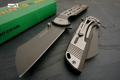 "Hunt-Down 7.75"" Silver Spring Assisted Open Pocket Knife CLEAVER RAZOR Folding"
