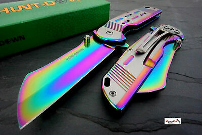 "Titanium 7.75"" Rainbow Spring Assisted Open Pocket Knife CLEAVER RAZOR Folding"