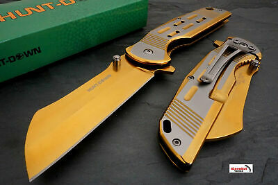 "Titanium 7.75"" Gold Spring Assisted Open Pocket Knife CLEAVER RAZOR Folding NEW"