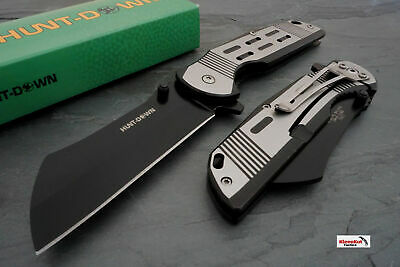 "7.75"" Black Spring Assisted Open Pocket Knife CLEAVER RAZOR Blade Folding NEW"