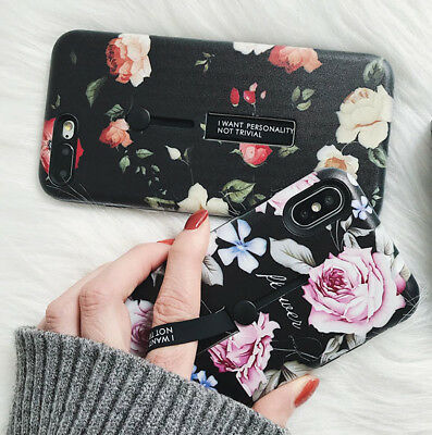 Retro Floral Ring TPU Case for iPhone X 8 7 6S Plus Cover Slim Fit Shockproof