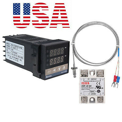 Digital LCD PID REX-C100 Temperature Controller set + max.40A SSR K Thermocouple