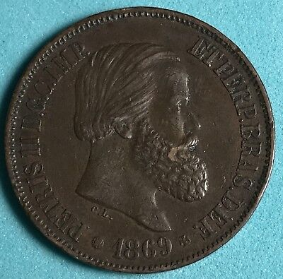 1869 Brazil 20 Reis world foreign coin Excellent condition