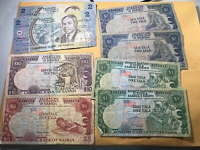 Western Samoa 1 to 10 Tala world foreign paper money lot some rare