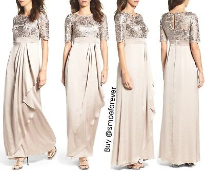 9f1e15bb69 NEW Adrianna Papell Floral Sequin Embroidered Gown Light Mink  SZ 2P 4    M852