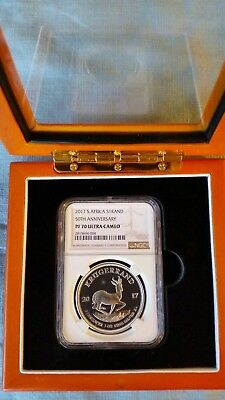 2017 silver PROOF krugerrand NGC Graded PERFECT  PF70 W/ Custom Display Case.