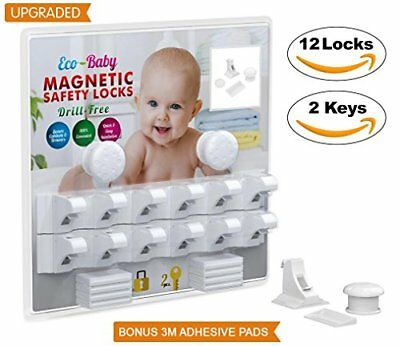 Baby & Child Proof Cabinet Drawers Magnetic Safety Locks Locking System 12 pack
