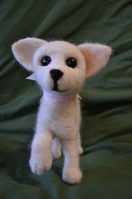 Handmade Needle Felted Chihuahua Puppy with Wire Armature