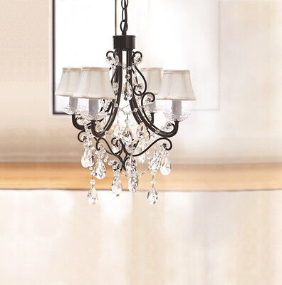 French Country Chic Shabby Black Iron Gems Chandelier with Mini Bell Silk Shades