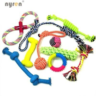Dog Puppy Chew Toys Teeth Cleaning IQ Treat Ball Squeak Toys Frisbee Included
