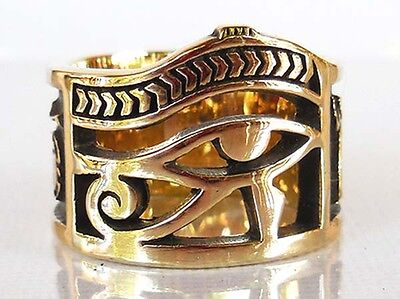 Eye of Horus Egyptian Symbol Ring, Ankh Ring Made with Brass Size 8-12