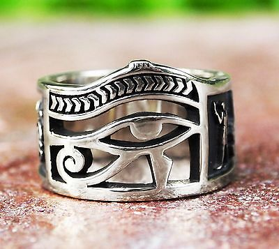 Egyptian Eye of Horus Ankh Ring with 925 Sterling Silver  Size 8-12
