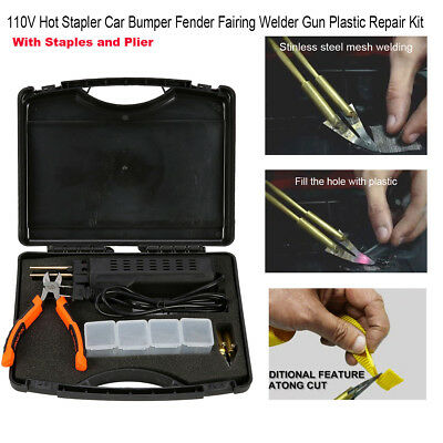 110V Hot Stapler Car Bumper Fender Fairing Welder Gun Plastic Repair 200 Staples