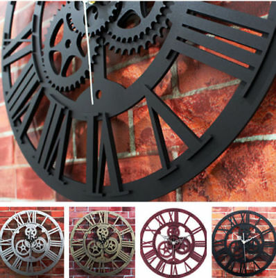 Large Round Wall Clock Metal Color Vintage Steampunk Skeleton Modern Home Decor