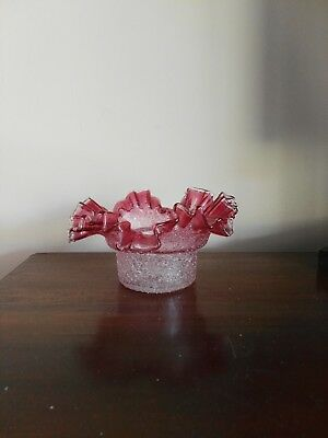 Antique cranberry overshot glass ruffled bowl