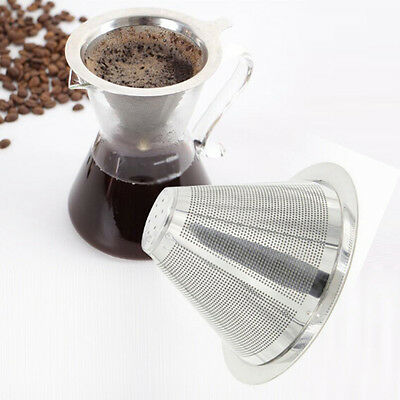 1X Stainless Steel Mesh Pour Over Cone Dripper Coffee Filter Tea Strainer Funnel