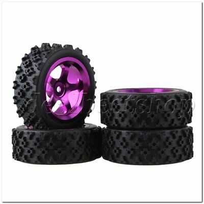 4pcs RC1:10 On Road Car Flower Pattern Rubber Tyre+Purple Alloy 5Spoke Wheel Rim