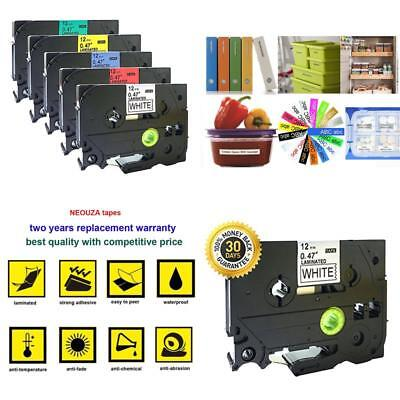 5Pk Compatible For Brother P-Touch Laminated Tze Tz Label Tape Cartridge 12Mmx8M