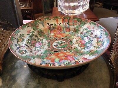 """9.75"""" Diameter Mid 1800s Qing Chinese Rose Medallion Tiered Bowl Asian Antique"""
