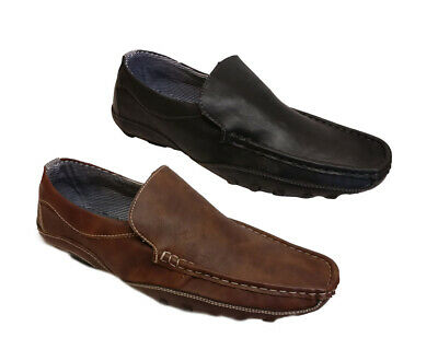 Mens Slip On Leather Look Casual Driving Shoes Loafers Moccasins Trainers Size
