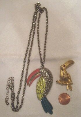 Two Can Wear Toucan! Fun Vintage Necklace & Pin