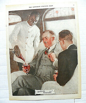 "1924 Feb.16 Sat. Evening Post ""refresh Yourself!"" Black Waiter Serving Gentlemen"
