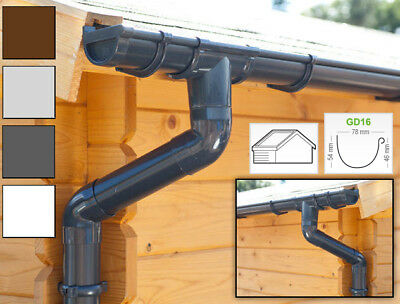 Plastic guttering kit for gabled roof (2 roofsides) | GD16 | in 4 colours!