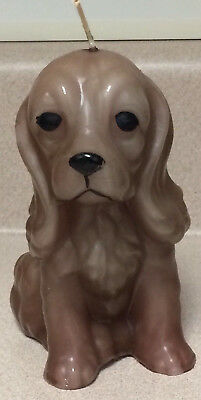 """Brown Puppy Dog Candle, Approx. 5-1/2"""" tall, Cocker Spaniel Puppy, Vintage"""