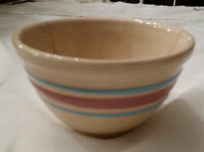 Vintage Watt Pottery Oven Ware #5 Mixing Bowl Pink & Blue Bands Stripe
