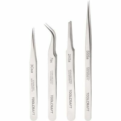 Toolcraft 816747 Stainless Steel Tweezers SSSA/2aSA/7SA/3cSA Set Of 4