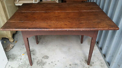 18Th Century Primitive Pine Tavern Work Table In Old Red Paint