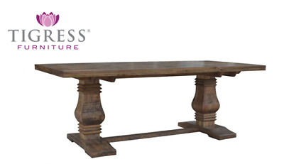 "FLOOR STOCK ""Tuscany"" Antique Finish Hamptons Style Solid Timber Dining Table"