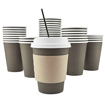 100 Pack Disposable Hot Paper Coffee Cups Lids Sleeves Stirring Straws To Go
