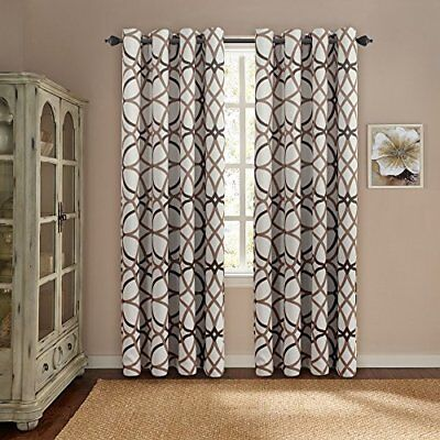 Grommet Curtain Drapes 52 x84 Length Set of 2 Panels Taupe and Brown Geo Pattern