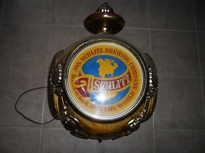 Large Vintage 1972 Schlitz Revolving Beer Light Sign