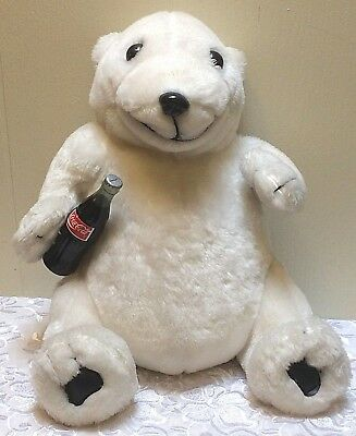 "Vintage COCA-COLA White POLAR BEAR Plush Collection Coke Bottle 1993 16"" Large"