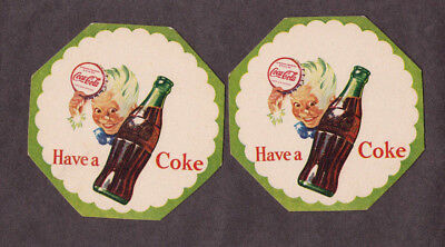 "4 SAME 1940's Sprite Boy ""Have a Coke"" Coca-Cola  thin cardboard coasters"