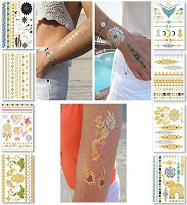 22388af428ee2 Metallic Temporary Tattoos for Women Teens Girls - 8 Sheets Gold Silver Te.
