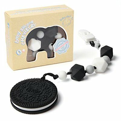 Teething Pain Relief Silicone Cookie and Pacifier Clip Holder