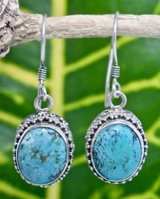 Handmade Sterling Silver .925 Bali Traditiona Oval Dangle Earring w Turquoise #3