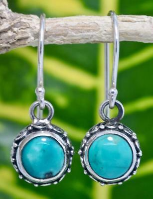 Handmade Sterling Silver .925 Bali Swirl Round Dangle Earring w Turquoise #5