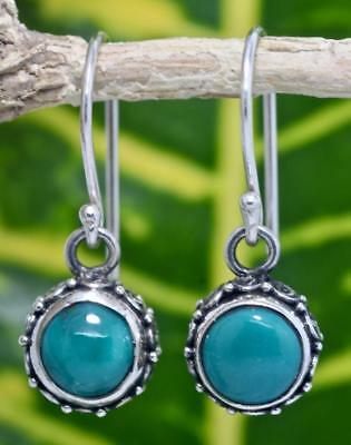 Handmade Solid Sterling Silver .925 Bali Round Dangle Earrings w Turquoise #3