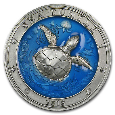 2018 Barbados 3 oz Silver Antique Underwater World (Sea Turtle) - SKU#163473