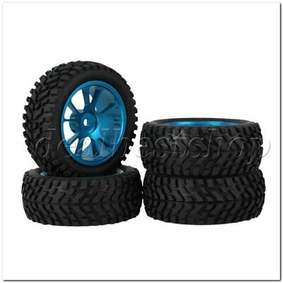 4PCS Blue Alloy 10Spoke Wheel Rim Beard pattern Rubber Tyre for RC1:10 Car