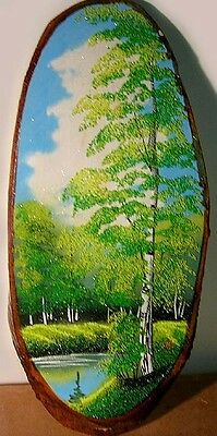 HUGE Landscape Painting Genuine Semi-Precious Gems Siberian Artisan Handicraft