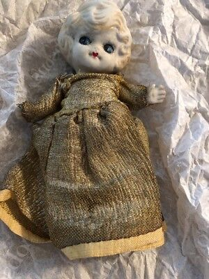"Vintage Bisque Doll Frozen Charlotte Kewpie Jointed Arms Japan 7"" For Repair"