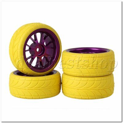 4PCS RC1:10 On Road Car Yellow Arrow Rubber Tyre Purple Alloy Y Shape Wheel Rim