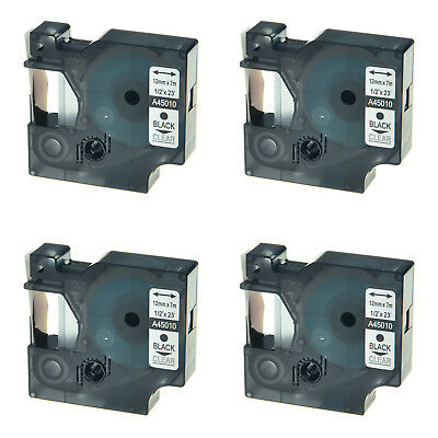 """4PK 45010 Black on Clear Label Tape For Dymo D1 LabelManager 360D 400 12mm 1/2"""""""